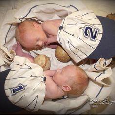 Newborn photo of identical twin boys. Twin A (#1) Twin B (#2)
