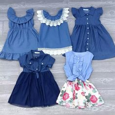 Our denim dress collection is perfection! There are 10 different styles! From denim to chambray to denim color. These dresses run true to size. If in doubt, size up! We recommend washing in cold water & lay flat to dry. Girls Denim Dress, Kids Dress Wear, Kids Outfits Girls, Little Girl Dresses, Girl Outfits, Denim Dresses, Girls Frock Design, Baby Dress Design, Baby Girl Dress Patterns