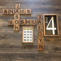 Custom family name crossword. Kids room name wall decor. Nursery name wall a Name Wall Decor, Name Wall Art, Room Wall Decor, Letter Wall, Diy Wall Decor, Name Decorations, House Decorations, Large Wood Letters, Gallery Wall Staircase