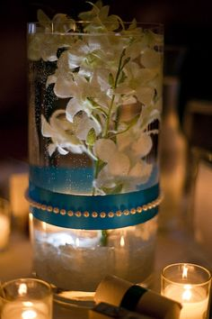 DIY - Plastic vase with ribbon and pearl. LED candles and orchids