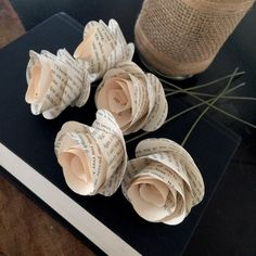 Stemmed Book Page Flowers Book Flowers Paper by PagesGarden