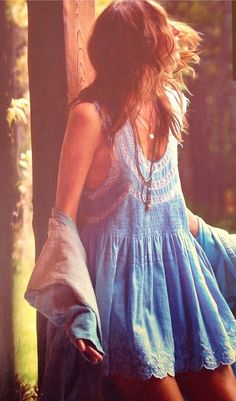 Blue cotton dress