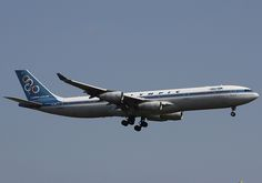"Olympic Airlines Airbus A340-313 SX-DFC ""Marathon"" on final approach to New York-JFK, September 2009. (Photo via Flickr: Wendy Bonilla)"