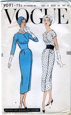 Vogue 9091 Vintage 50s Misses' One Piece Dress with midriff inset waist ~