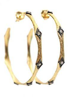 """Arman's 18k yellow gold textured 1-1/2"""" hoop earrings set with 7 diamonds set in blackened silver diamond shaped bezels. Available at Oster Jewelers."""