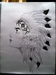 Native American Warrior Princess Drawing