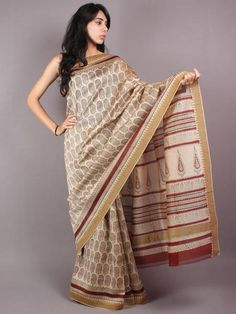 Beige Red Bagru Hand Block Printed Chanderi Saree With Geecha Border - S03170300