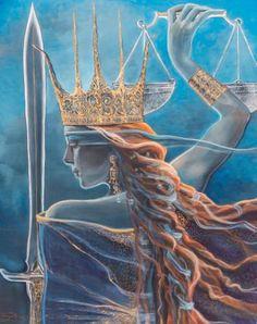 Themis Painting by Daiva Luksaite Libra Art, Zodiac Art, Goddess Tattoo, Goddess Art, Aphrodite Goddess, Libra Images, Libra Tattoo, Signo Libra, Lady Justice