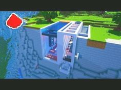 Minecraft - Cliff Side Modern Redstone House - Law of Attraction Minecraft World, Modern Minecraft Houses, Minecraft Farm, Minecraft Mansion, Minecraft Houses Survival, Minecraft House Tutorials, Minecraft Houses Blueprints, Minecraft Plans, Minecraft House Designs