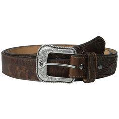 Ariat Floral Embossed Belt (Brown) Men's Belts ($49) ❤ liked on Polyvore featuring men's fashion, men's accessories, men's belts, mens belts, mens brown belt, mens cowboy belts and mens western belts