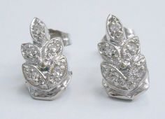 SALE 14k White Gold .10 Carat Diamond Leaf Design Earrings Custom Made #679 #Stud Check out this item and more at mmjewelersknoxville on eBay!