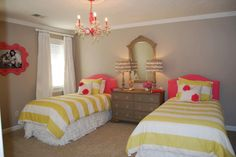 Guest room, but turquoise instead of pink. Like the grey, lime