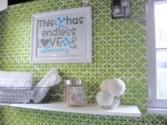 Pretty Pegboard - This work-bench staple got an update with green and white paint. Becky at Organizing Made Fun hung the pegboard to cover exposed pipes, and now it holds shelving and supplies. Pin 'Em All: 8 Ingenious Ideas for Your Laundry Room - Page 5 Painted Pegboard, White Pegboard, Laundy Room, Small Laundry Rooms, Laundry Area, Laundry Tips, Laundry Room Organization, Pegboard Organization, Getting Organized