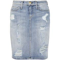 Current/Elliott The Stiletto distressed stretch-denim pencil skirt ($220) via Polyvore