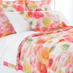 Pine Cone Hill   Clarissa Duvet Cover   Rest on a bed of beautiful blooms with this duvet cover. Inspired by a Parisian watercolor and crafted of crisp cotton, this duvet cover evokes a summer sunset in shades of pink, orange, yellow, and green. Create the perfect pairing with other colorful cotton bedding coordinates, like our Embroidered Hem sheets, Boyriend matelasse coverlets, Marina quilts, and Laundered Linen decorative pillows and throws. <br> <br>  • 100% ...