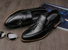 Mens #black business casual leather slip on #DressShoe ornament decorated, leather upper and lining.