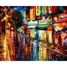 Night Rain by Leonid Afremov Handmade oil painting reproduction on canvas for sale,We can offer Framed art,Wall Art,Gallery Wrap and Stretched Canvas,Choose from multiple sizes and frames at discount price. Large Painting, Oil Painting On Canvas, Painting Prints, Painting Art, Knife Painting, Art Print, City Art, Colorful Paintings, Beautiful Paintings