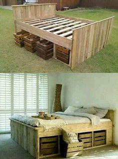 Bed made out of skids and 2x4's easy and smart idea very thrifty great way to save money and have great style!