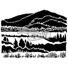 The Crafter's Workshop Stencil - Mountain View-Thin plastic stencil - designed by: Carmen Medlin Stencil Templates, Stencil Designs, Stencils, Paper Art, Paper Crafts, Stippling, Simon Says Stamp, Mountain View, Mountain Mural