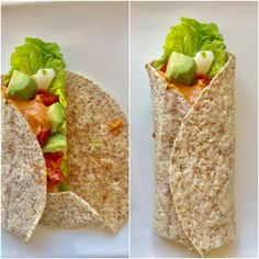 Whole wheat wrap with lettuce, tomato, a soft boiled egg, avocado and cocktail sauce