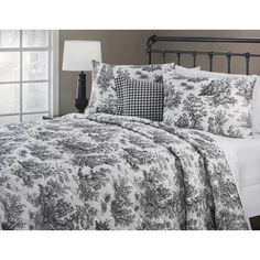 Plymouth King Quilt 4 pc Set (As Is Item) (Black - Cotton - Dry Clean) Toile Bedding, Flannel Duvet Cover, Black And White Quilts, Amity Home, Online Bedding Stores, King Size Quilt, Queen, Quilt Sets, Comforter Sets