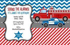 fire police birthday invitation emergency vehicle