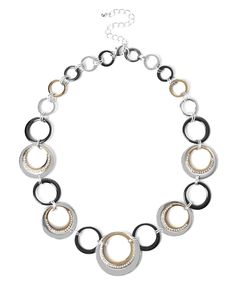 Mixed pops of circle pendants encrusted with clear crystal will shine and sparkle against your outfit for work to the weekend. Circle Necklace, Work Wardrobe, Clear Crystal, Sparkle, Pendants, Crystals, Silver, Gold, Jewelry