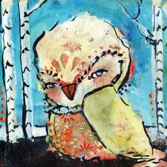 White Owl Art- Only Good Lies Before You - inch Print of a Reproduction of the Original Mixed Media Painting by Juliette Crane Art And Illustration, Mixed Media Painting, Mixed Media Art, Create This Book, Whimsical Owl, Owl Print, Elements Of Art, Medium Art, Fiber Art