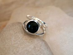 Excited to share the latest addition to my #etsy shop: Black Onyx Ring, Black Stone, Gemstone Ring, Minimalist Ring, Sterling Silver Jewelry, Hammered, Handmade by Artisan Designer to Your Size http://etsy.me/2yMCKLb