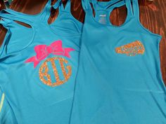 Big Little Cheer Sisters Tank Tops. Mags gift for her big sister. Personalized megaphone on front, big/lil monogram w/bow tank. **little sister tank has 'LIL' monogrammed on back. #bigsistergift #cheercamp #cheergift