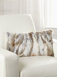 Exclusively from Simons Maison Fashionable luxurious decorative touch that warms and livens up any room in the house with rich and warm rabbit fur on faux-suede backing. - Detachable zip cover - Rectangular, 30 x 50 cm - Matching throw also available Fur Pillow, Leather Pillow, Fur Decor, Modern Rustic Decor, Cushions Online, Fur Blanket, Brown Sofa, Fur Throw, Pet Rabbit
