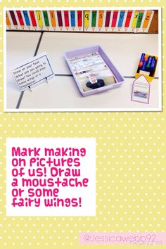 Mark making on pictures of us! EYFS
