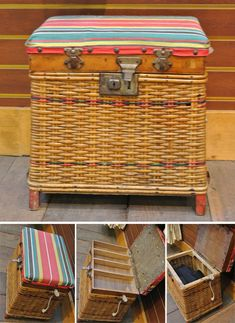 Love this vintage wicker seat with storage.