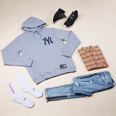 Yankees Hood Grey $89.95 | #generalpants #mensflatlay #majesticathletic #zanerobe #adidas #standardthelabel #streetwear