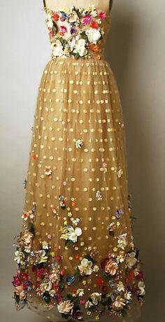 Arnold Scaasi - Robe Longue et Châle 'Le Jardin aux Papillons' - 1992