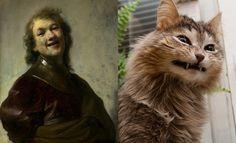 Cats Imitating Art -- Rembrandt Van Rijn, Self Portrait (1628)