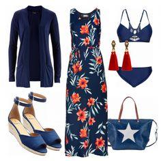 Toller Sommerlook aus einem blauen Maxi-Kleid, einem blauen Bikini und einer blauen Handtasche.. #mode #damenmode #frauenmode #outfit #damenoutfit #frauenoutfit #trend #sommertrend #trend2018 #modetrend #modeinspiration #inspiration #kleidung #fashionista