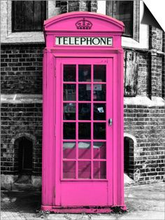 Red Phone Booth in London painted Pink - City of London - UK - England - United Kingdom - Europe Posters by Philippe Hugonnard at AllPosters.com