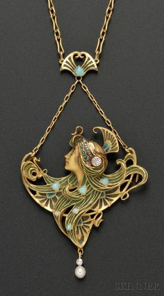 Art Nouveau 18kt Gold and Plique-a-Jour Enamel Gem-set Pendant, L. Gautrait, France, designed as a maiden with plique-a-jour enamel tresses wearing a diamond and rose-cut diamond diadem, opal accents, diamond and pearl drop, and suspended from fancy link chain, 2 x 2 1/2 in., chain lg. 20 in., pendant signed L. Gautrait, and chain with partial maker's mark for Leon Gariod, guarantee stamps
