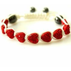 Delicate Red Heart Crystal Beads Shamballa Bracelets Bangles for Ladies