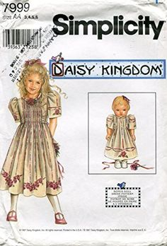 "CSimplicity Daisy Kingdom Pattern 7999 Girls' Dress and Matching 18"" Doll Clothes"