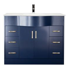 Single Sink Bathroom Vanity in Blue Finish with Stone Countertop with Undermount Sink - Color Options White Vanity Bathroom, Single Sink Bathroom Vanity, Bathroom Vanity Cabinets, Wood Vanity, Vanity Sink, Modern Bathroom, Discount Bathroom Vanities, Cheap Bathrooms, How To Clean Stone
