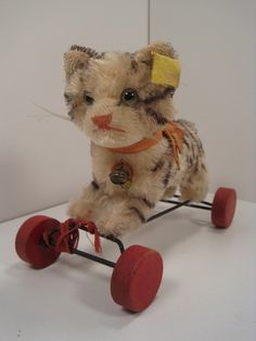 Steiff's Terrific Tabby Cat on Wheels With All IDs