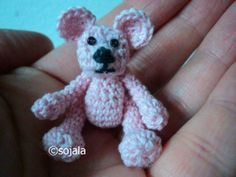 Free Crochet Thread Bear Pattern with video tutorial by Amigurumi To Go.