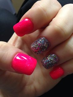 Pink and Glitter!! Two of my favs! My new spring nails 2014