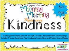 Give your class community and students what they need WHILE teaching through LITERATURE rich discussions. Morning Meeting Made Easy~Now in individual downloads~themes in literature; I have provided materials for you to engage students through read alouds, whole group discussions, videos and song lyrics, quotation analysis, and personal reflection through journaling and self assessments {classroom community, kindness, theme} RL3.2, RL3.9, RL4.2, RL4.9, RL5.2, RL5.9, RL6.2, RL6.9