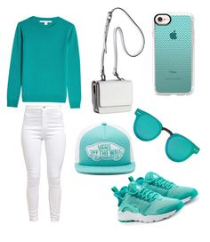 """Teal and white"" by omaimamassher on Polyvore featuring Diane Von Furstenberg, Kendall + Kylie, Vans, Casetify, Forever 21 and NIKE"