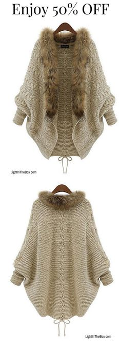 Casual warm faux fur round neck knitted cardigan in cappuccino colour at just $18.8 Click to shop!