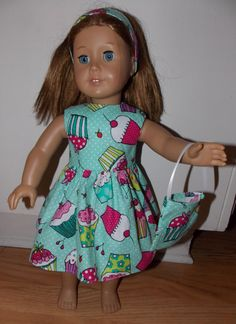 """New Mint Green Handmade Cupcake Birthday Dress with Headband and Purse Fits 18"""" American Girl Dolls Doll Clothes"""