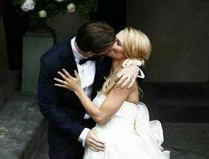 Michelle Hunziker & Tomaso Trussardi. Abito della sposa : Antonio Riva. Abito dello sposo : Trussardi